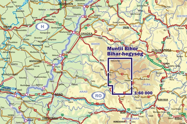 Map Of Bihor Mountains