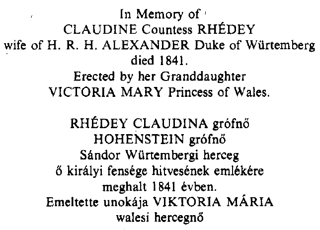 In Memory of Claudine Countess Rhédey
