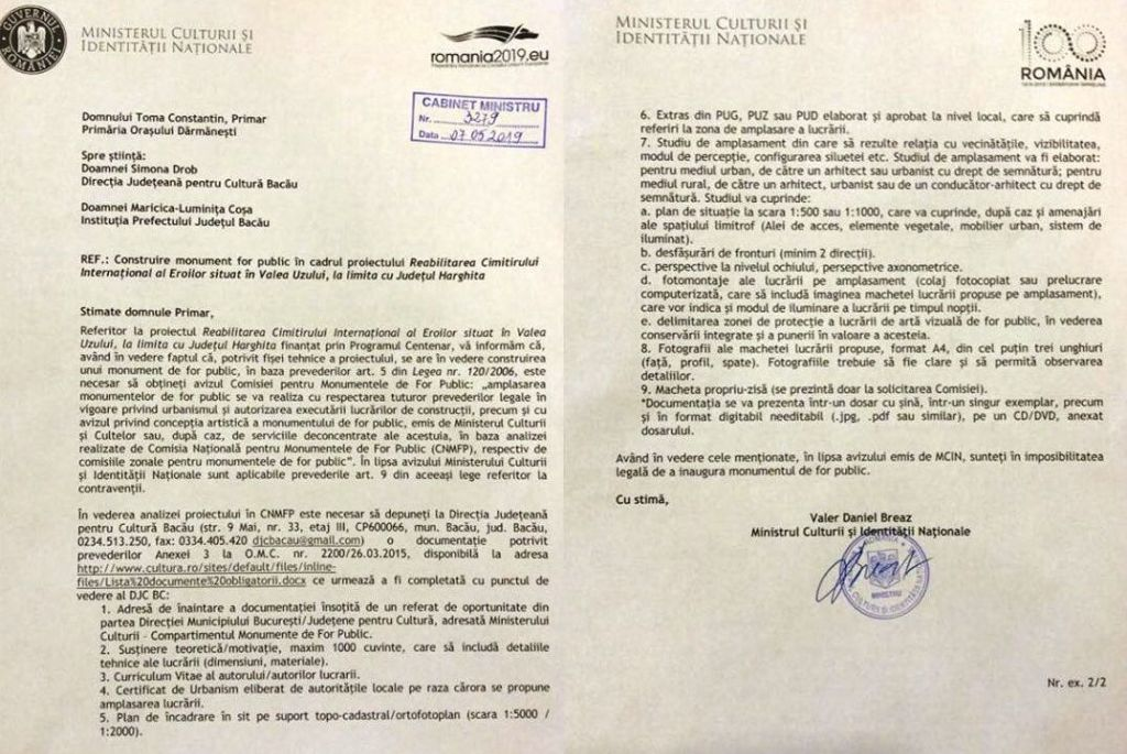The letter from the Minister of Culture warning