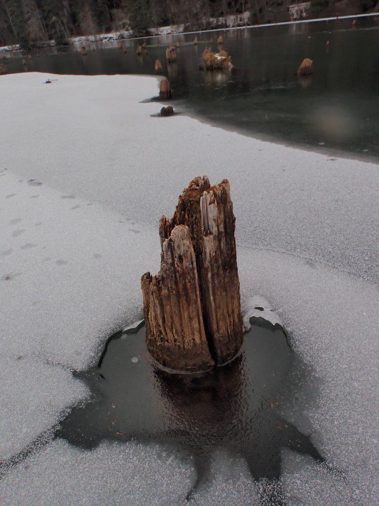 Frozen red lake