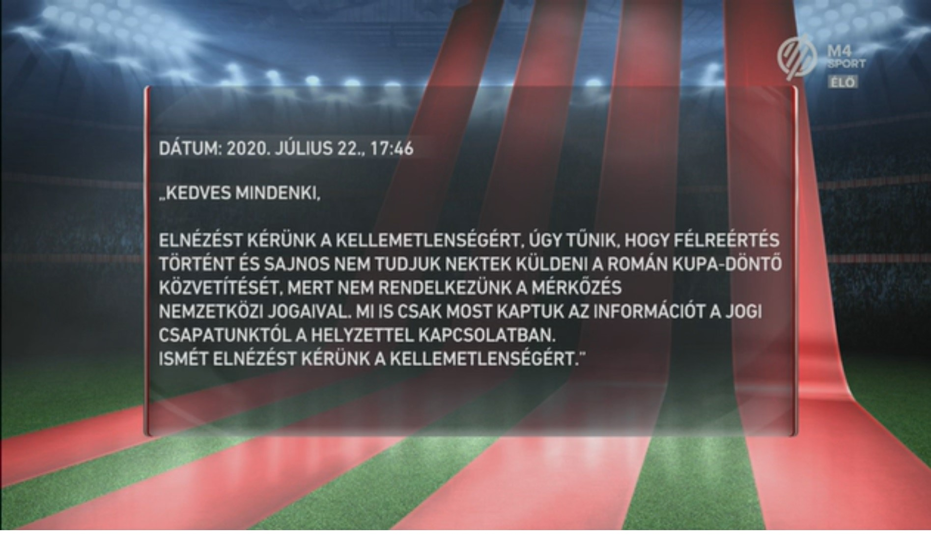 Romanian broadcaster blocked Hungarian channel from broadcasting Sepsi OSK's Cup final - Transylvania Now